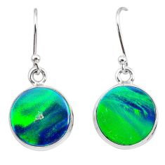 925 silver 5.09cts northern lights aurora opal (lab) dangle earrings t28497