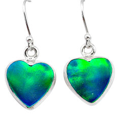 925 silver 5.80cts northern lights aurora opal (lab) dangle earrings t28499