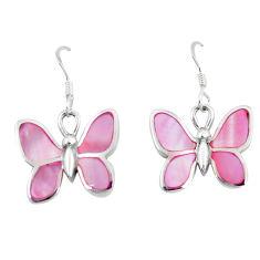 925 sterling silver 5.89gms pink pearl enamel butterfly earrings a88454 c14226