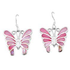 925 sterling silver 7.26gms pink pearl enamel butterfly earrings a88635 c14237