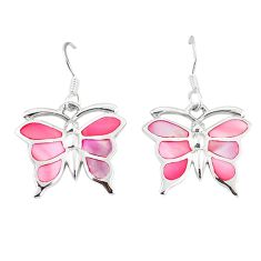 925 sterling silver pink pearl enamel butterfly earrings jewelry a55554 c14224