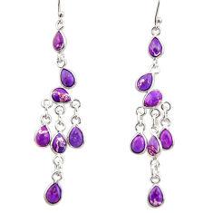 925 sterling silver 10.65cts purple copper turquoise chandelier earrings r33551