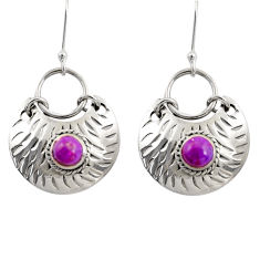 Clearance Sale- 925 sterling silver 1.65cts purple copper turquoise dangle earrings d39748