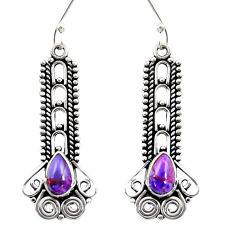Clearance Sale- 925 sterling silver 3.75cts purple copper turquoise dangle earrings d41183