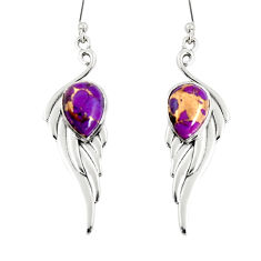925 sterling silver 5.13cts purple copper turquoise dangle earrings r19785