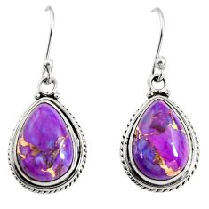 925 sterling silver 9.56cts purple copper turquoise dangle earrings r25026