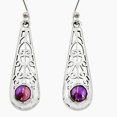925 sterling silver 1.74cts purple copper turquoise dangle earrings r26067