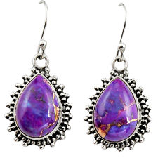 925 sterling silver 10.84cts purple copper turquoise dangle earrings r26544