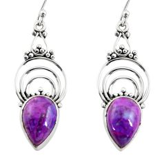 925 sterling silver 7.97cts purple copper turquoise dangle earrings r30871