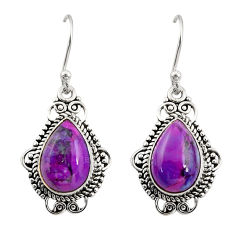 925 sterling silver 8.26cts purple copper turquoise dangle earrings r30954