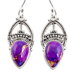 925 sterling silver 8.07cts purple copper turquoise dangle earrings r31034
