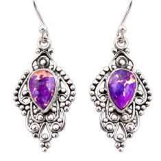 925 sterling silver 4.43cts purple copper turquoise dangle earrings r31257