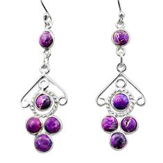 925 sterling silver 6.27cts purple copper turquoise dangle earrings r33180