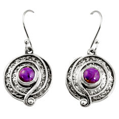 925 sterling silver 2.36cts purple copper turquoise dangle earrings r35154