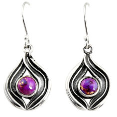 925 sterling silver 2.56cts purple copper turquoise dangle earrings r35165