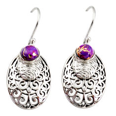 925 sterling silver 2.01cts purple copper turquoise dangle earrings r36820