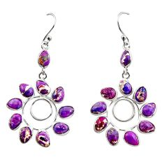 925 sterling silver 12.99cts purple copper turquoise dangle earrings r37449