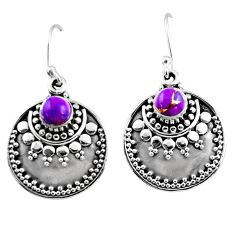925 sterling silver 1.22cts purple copper turquoise dangle earrings r54034