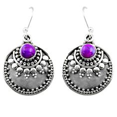 925 sterling silver 1.17cts purple copper turquoise dangle earrings r54037