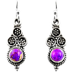 925 sterling silver 0.80cts purple copper turquoise dangle earrings r54055