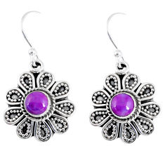 925 sterling silver 1.81cts purple copper turquoise dangle earrings r55352