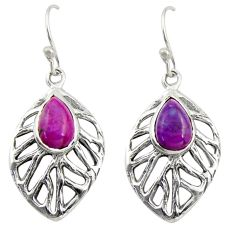 925 sterling silver 4.40cts purple copper turquoise dangle leaf earrings r39189