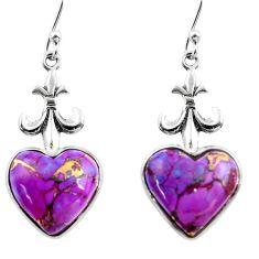 925 sterling silver 9.65cts purple copper turquoise heart dangle earrings r46831