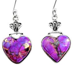 925 sterling silver 10.15cts purple copper turquoise heart earrings r46828