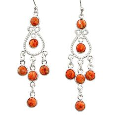 925 sterling silver 11.07cts red copper turquoise chandelier earrings r33595