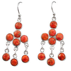 925 sterling silver 11.20cts red copper turquoise chandelier earrings r38672