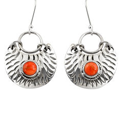 Clearance Sale- 925 sterling silver 2.06cts red copper turquoise dangle earrings jewelry d39752