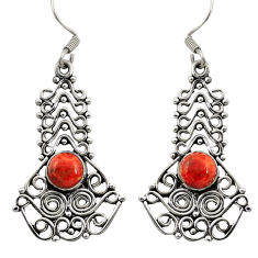 Clearance Sale- 925 sterling silver 2.01cts red copper turquoise dangle earrings jewelry d41195