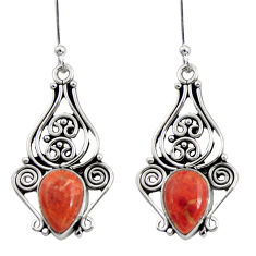 Clearance Sale- 925 sterling silver 4.92cts red copper turquoise dangle earrings jewelry d41198