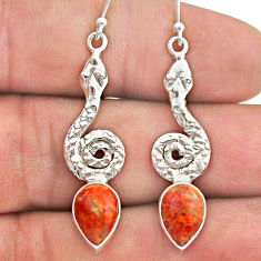 925 sterling silver 4.48cts red copper turquoise snake earrings jewelry t40230