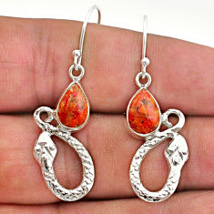 925 sterling silver 4.71cts red copper turquoise snake earrings jewelry t40254