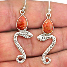 925 sterling silver 4.26cts red copper turquoise snake earrings jewelry t40270
