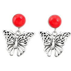 Red coral 925 sterling silver butterfly earrings jewelry c11625