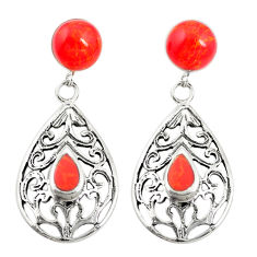 925 sterling silver red coral dangle earrings jewelry c11806
