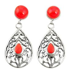 925 sterling silver red coral dangle earrings jewelry c11807