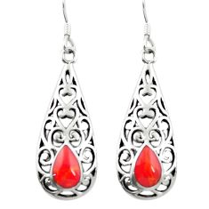 925 sterling silver red coral enamel dangle earrings jewelry c11738