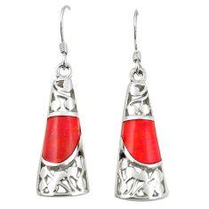 925 sterling silver red coral enamel dangle earrings jewelry c11743