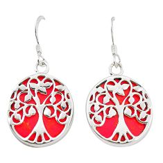 925 sterling silver red coral enamel dangle earrings jewelry c11808