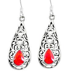 925 sterling silver 4.02gms red coral enamel dangle earrings jewelry c11833