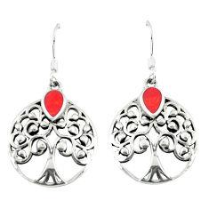 3.48gms red coral enamel 925 sterling silver tree of life earrings c11644