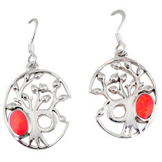925 sterling silver red coral enamel tree of life earrings jewelry c11666