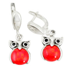 925 sterling silver red coral owl charm earrings jewelry c11775