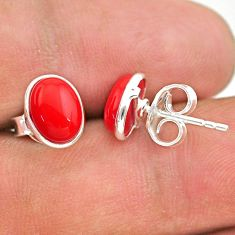 925 sterling silver 3.77cts red coral round stud earrings jewelry t29290