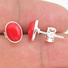 925 sterling silver 3.75cts red coral round stud earrings jewelry t29309