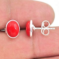 925 sterling silver 3.67cts red coral round stud earrings jewelry t29338