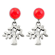 Red coral 925 sterling silver tree of life earrings jewelry c11629